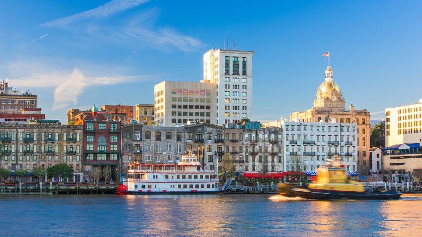 Savannah, Georgia, USA downtown skyline.