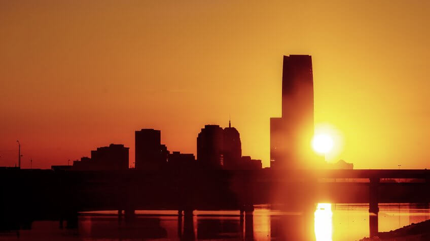 Sunrise along the Oklahoma River downtown OKC.