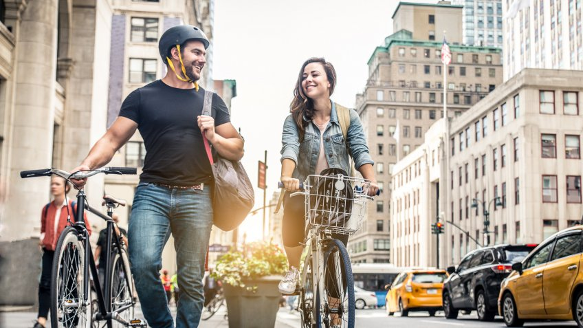 two-friends-biking-New-York
