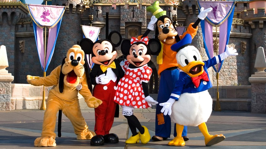 THE FAB 5 -- The classic Disney characters welcome visitors outside Sleeping Beauty Castle at Disneyland in Anaheim, Calif.