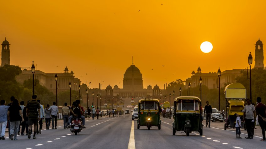 Sunset behind the President Residence, Rashtrapati Bhavan, New Delhi, India.