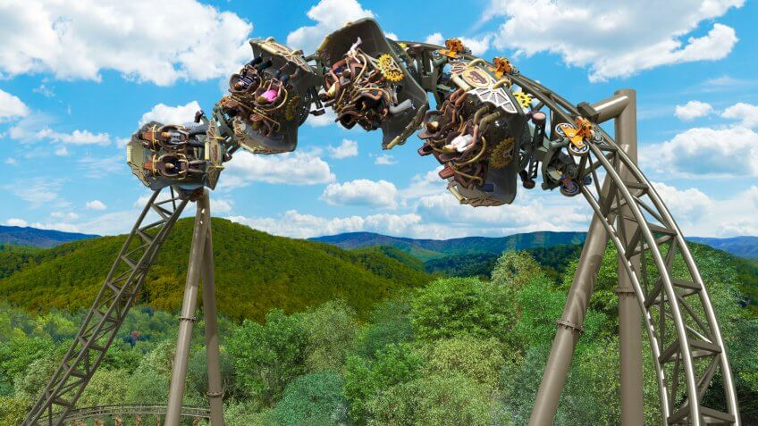 Rollercoaster, Silver Dollar City, Time Traveler, attractions, rides, theme park