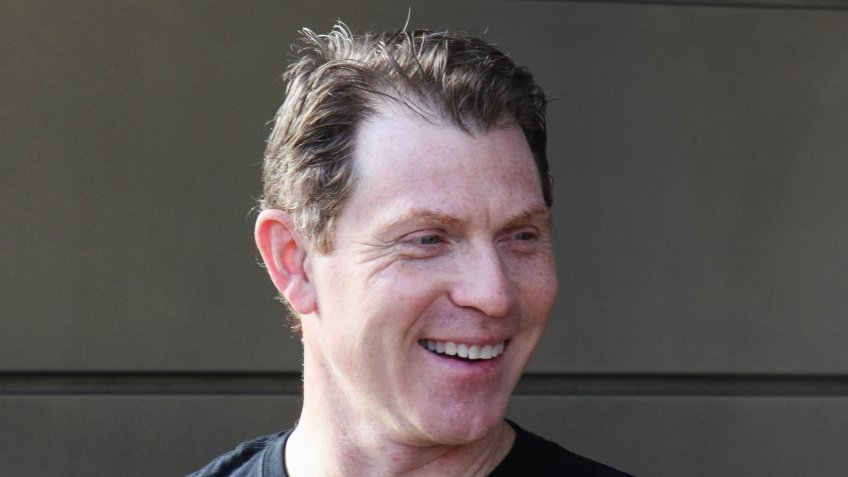 Las Vegas,Nevada,United States - January 29, 2014: Bobby Flay, a famous chef, in front of his new restaurant in Las Vegas.
