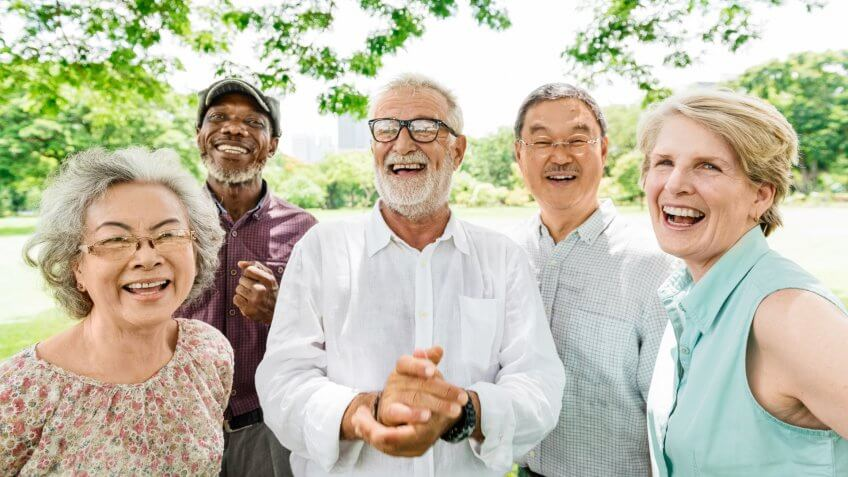 Group of Senior Retirement Friends Happiness Concept.