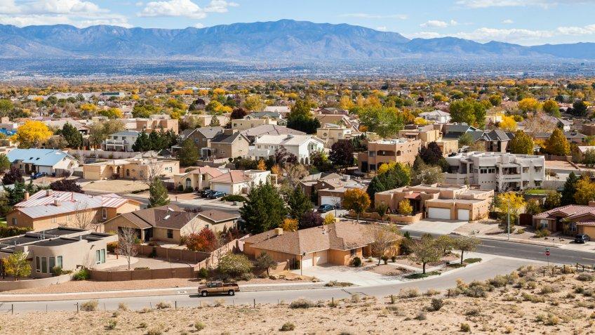 Albuquerque residential suburbs, New Mexico.