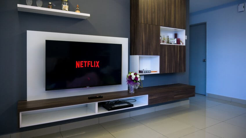 KUALA LUMPUR, MALAYSIA - AUGUST 8TH, 2017 : Modern lifestyle with SONY Android TV to stay connected & browsing media using favourite Apps.