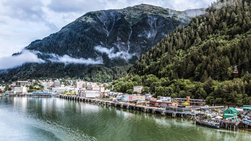 Expansive view of downtown Juneau and waterfront, Alaska.