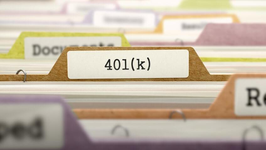 (401)K Concept on File Label in Multicolor Card Index.