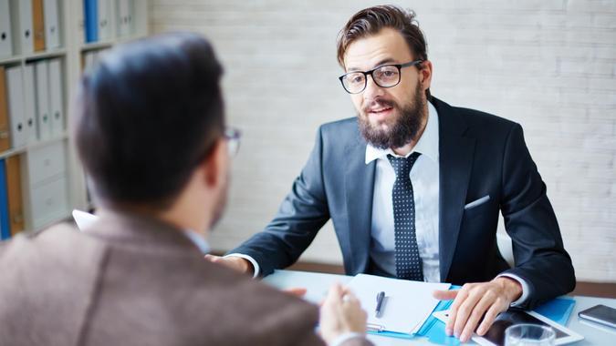 Manager, Meeting, boss, employee, employer, interview, job, salary raise, supervisor, work, worker, workplace
