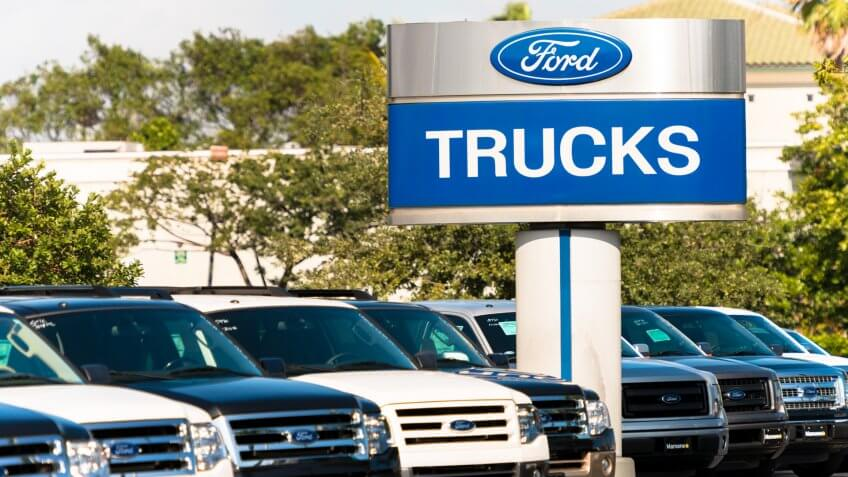 Fort Lauderdale, USA - January 8, 2013: Ford trucks at a car dealership.