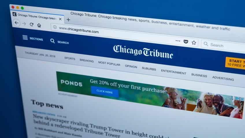 Chicago Tribune website owned by Tribune Online Publishing