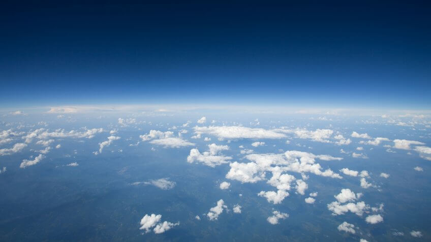 High altitude view of the slight curvature to the earth.