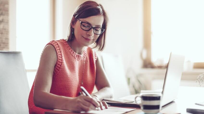 Woman, 30s, at home, businesswoman, working at home, home office, one person, small business, entrepreneur, smart phone, using phone, coffee, kitchen.
