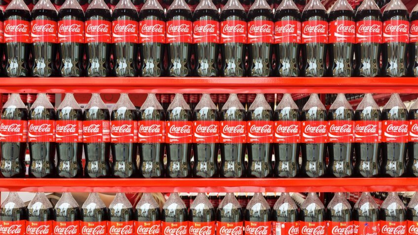 Plastic bottles of Coca Cola