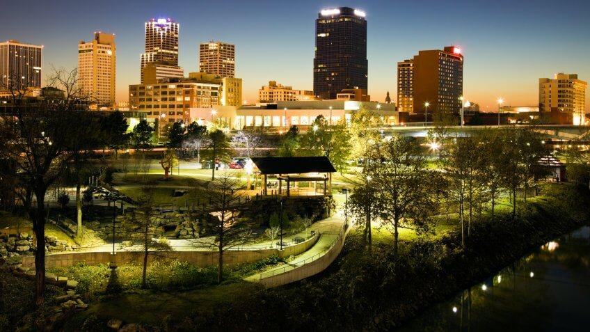 Night in Little Rock, Arkansas.