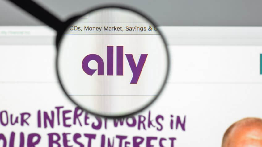 Milan, Italy - August 10, 2017: Ally bank website homepage.