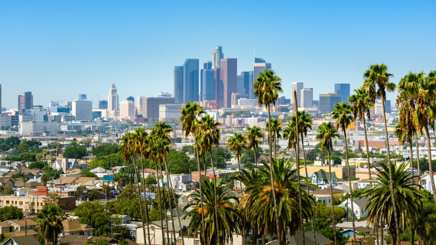 Los Angeles, California, USA downtown skyline and palm trees in foreground.