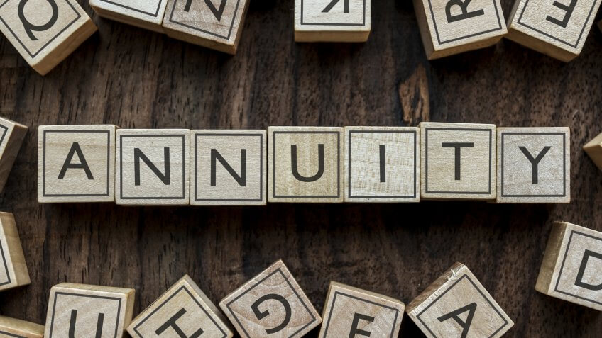 wooden block spelling out annuity