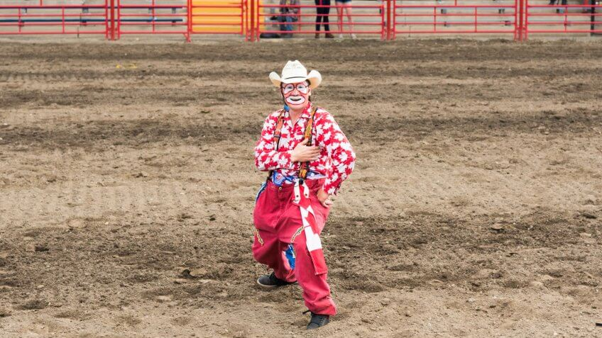 Williams Lake, British Columbia/Canada - July 1, 2016: a rodeo clown entertains the crowds during the 90th Williams Lake Stampede, one the the largest stampedes in North America.