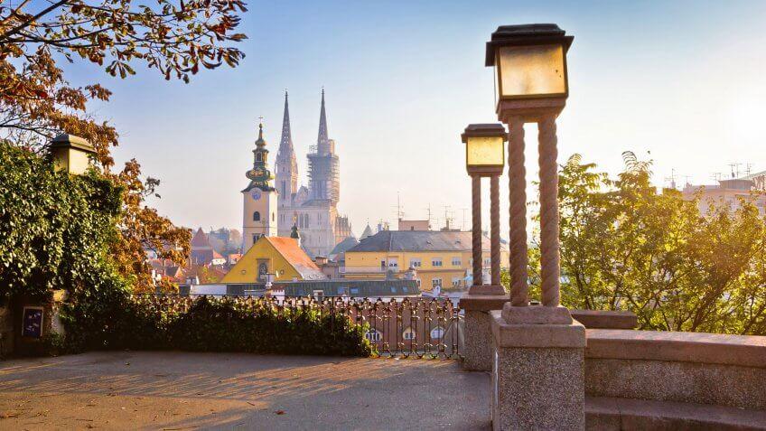 Historic Zagreb towers sunrise view, capital of Croatia.