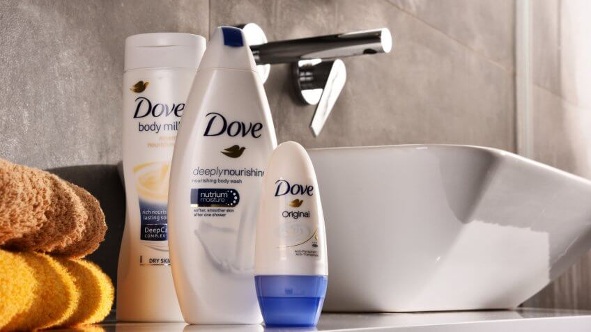 POZNAN, POLAND - NOV 10, 2017: Dove products, a personal care brand, owned by Unilever and sold in more than 80 countries.