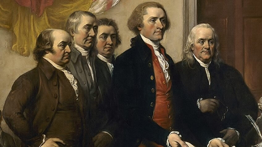 Committee of Five, Declaration of Independence, July 1776, detail of John Trumbull's painting (1819).