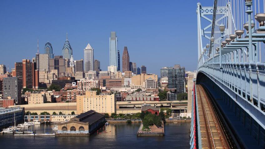 Philadelphia skyline, view from Benjamin Franklin Bridge, USA.