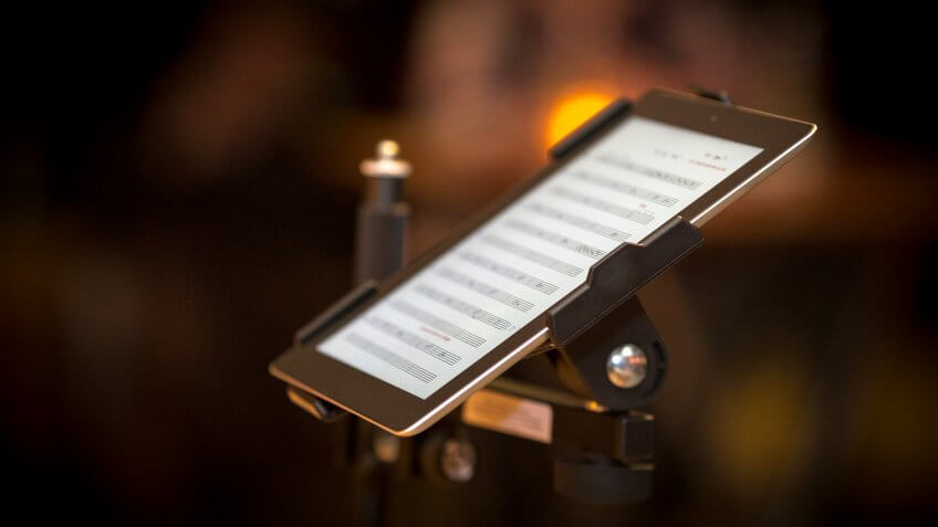 Tablet pc with notes on stage.