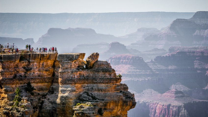 Mather Point scenic viewpoint at the Grand Canyon National Park, Arizona, United States.