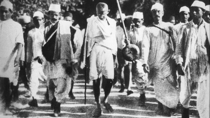 Gandhi during the Salt March, March 1930.