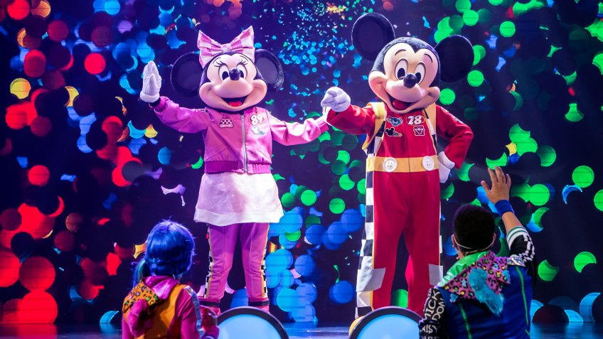 "'DISNEY JUNIOR DANCE PARTY!' - Mickey Mouse and Minnie Mouse in their""Mickey and the Roadster Racers"" costumes entertain guests of all ages at ""Disney Junior Dance Party!"" The all-new ""Disney Junior Dance Party!"" comes to life in Hollywood Land at Disney California Adventure Park."