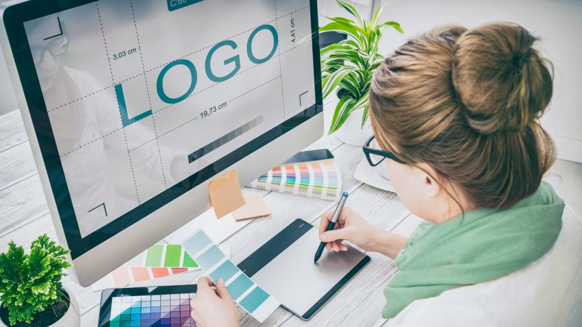 logo design brand designer sketch graphic drawing creative creativity draw studying work tablet concept - stock image.