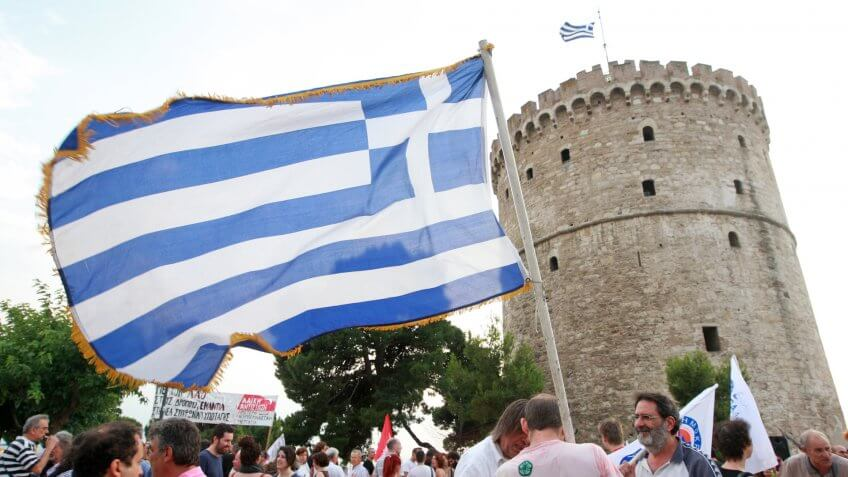 GREECE, Thessaloniki JULY 10, 2015: Anti-austerity demonstrators, members of various left wing parties, protest against new austerity measures while demanding Greece to get out of the European Union.