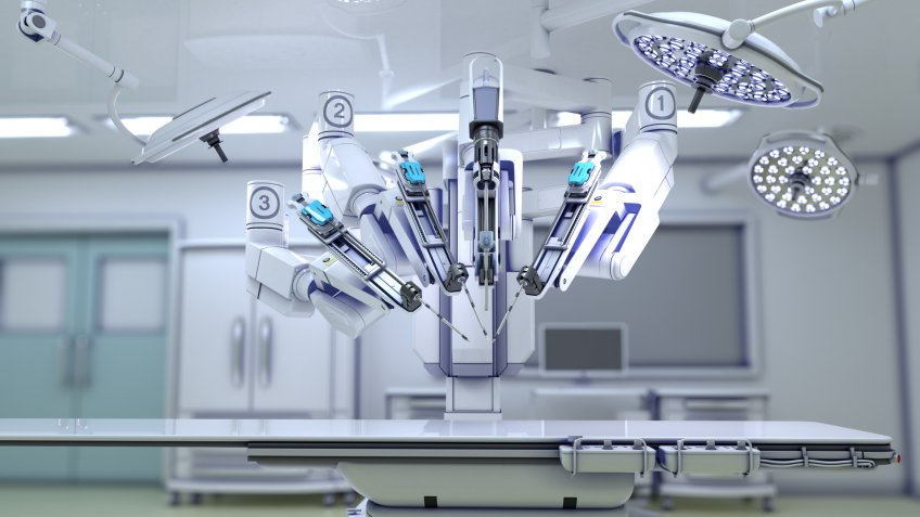 3D illustration of surgical robot.