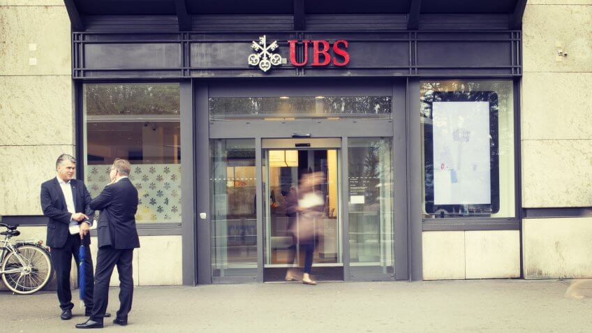 ZURICH, SWITZERLAND - 15 SEPTEMBER 2016: Office of UBS, one of the largest Swiss banks at Bellevue, Zurich.
