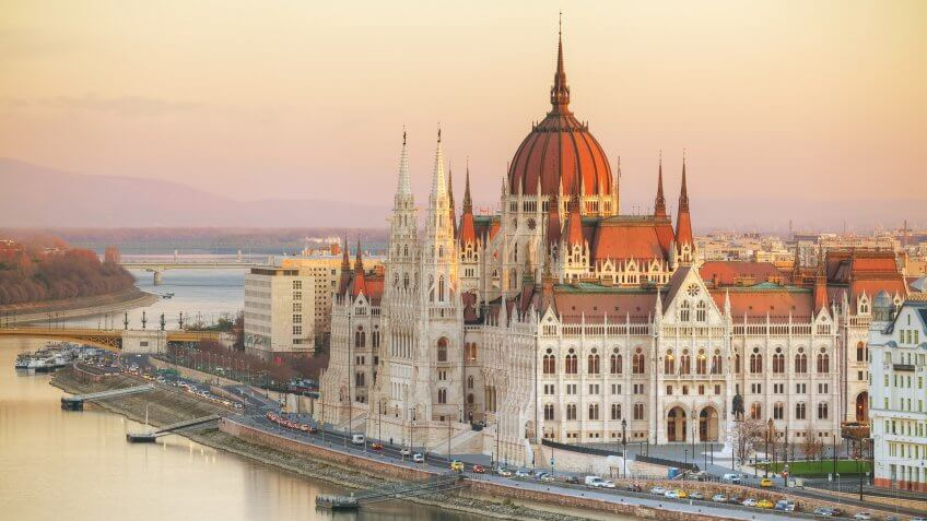 Parliament building in Budapest, Hungary at sunrise.