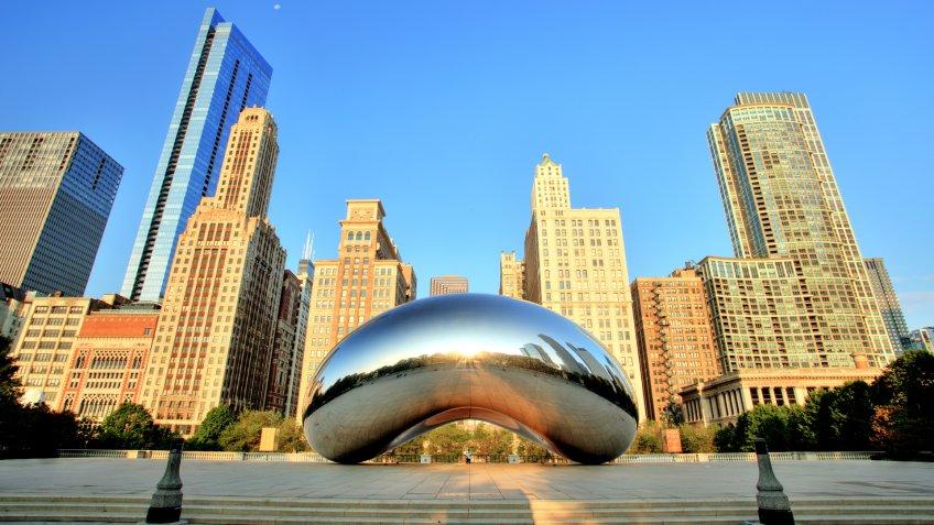 Chicago, United States - September 3, 2015: Cloud Gate in Millennium Park.