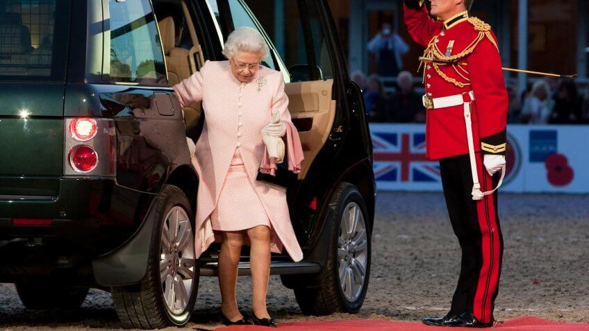 arrival of her Majesty Queen Elizabeth II for The Royal Windsor Tattoo