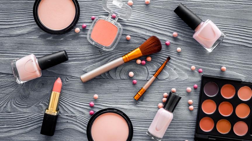 cosmetics, eyeshadow, lipstick, nail polish, palette