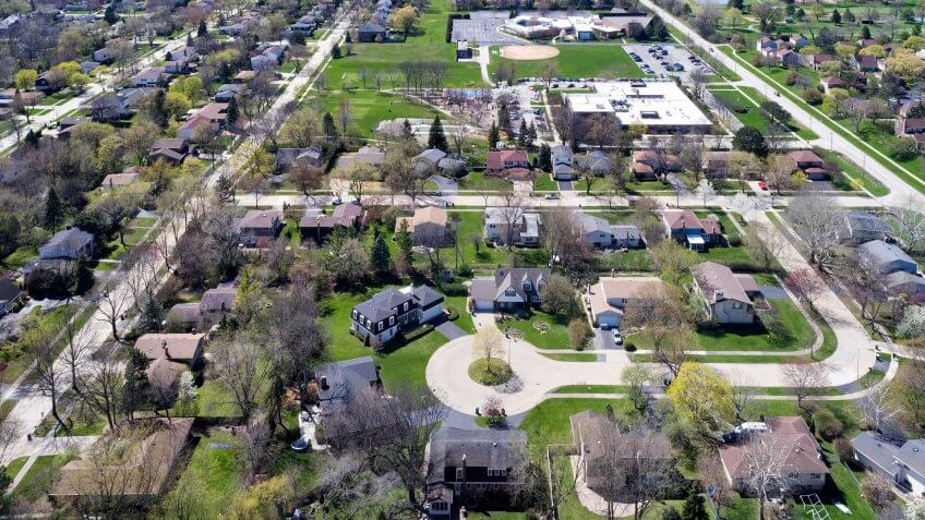 Aerial view of a neighborhood in the suburban Chicago area with homes