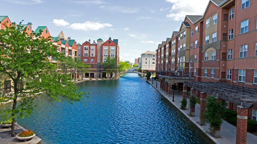 Beautiful architecture in downtown Indianapolis, Indiana, along the central canal.