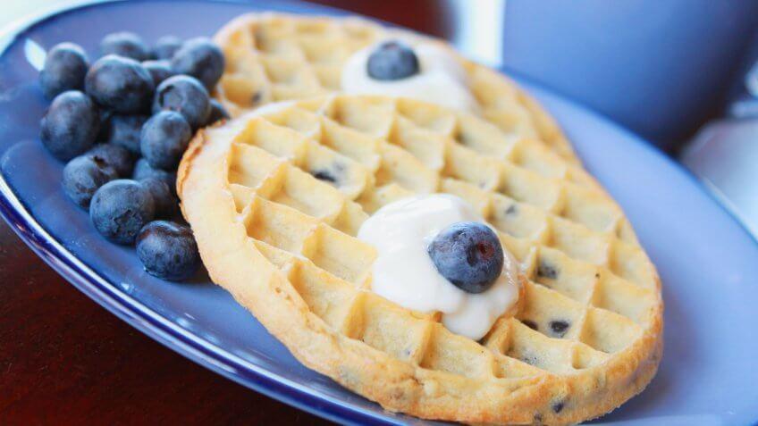 Breakfast, blueberry waffles, waffles