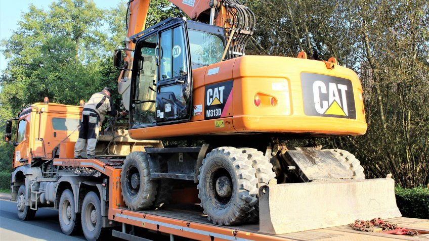 An image of a cat logo on a excavator, caterpillar - Reinerbeck/Germany - 09/21/2017.