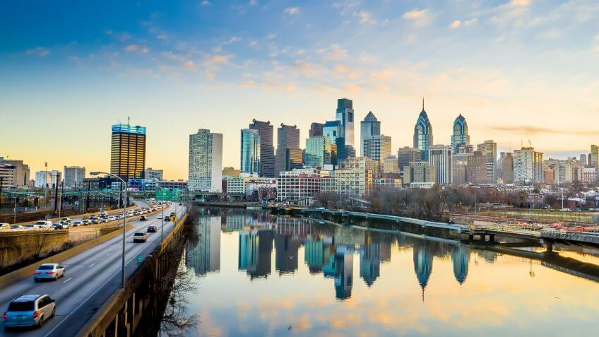 Downtown Skyline of Philadelphia, Pennsylvania at twilight.