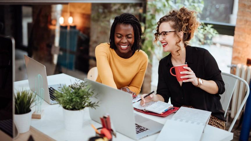 Businesswomen Working On Computer