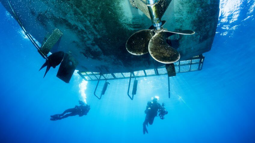 divers, ocean, propellers, scuba diving, ship, underwater