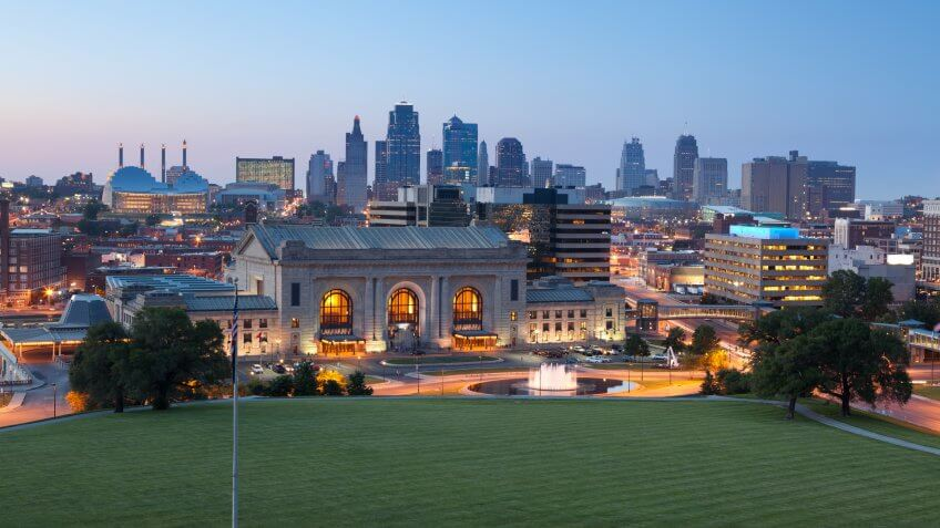 Kansas City skyline at twilight.