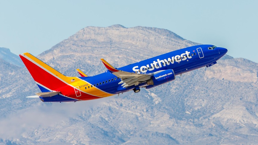 Las Vegas, NV, USA- November 3, 2014: Boeing 737 Southwest Airlines takes off from McCarran International Airport in Las Vegas, NV on November 3, 2014.