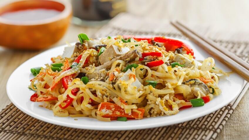 rice noodles, tofu, vegetables and shiitake mushrooms