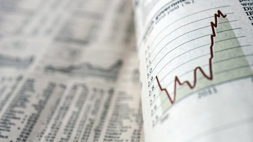 Newspaper with stock chart